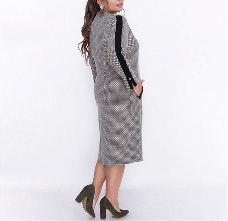 5XL 6XL Autumn Big Size Women Dress Winter Casual Print Patchwork Plus Size Dress Zipper