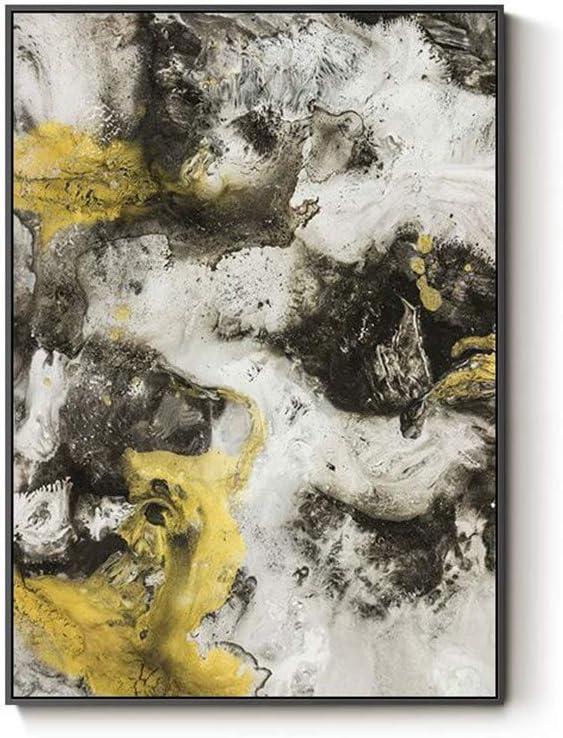 XIAOXINYUAN Abstracto Amarillo Negro Gris Paisaje Lienzo Cartel Pintura Al Óleo del Arte Cuadros Pintura para Sala De Estar Decoración para El Hogar 80X100Cm