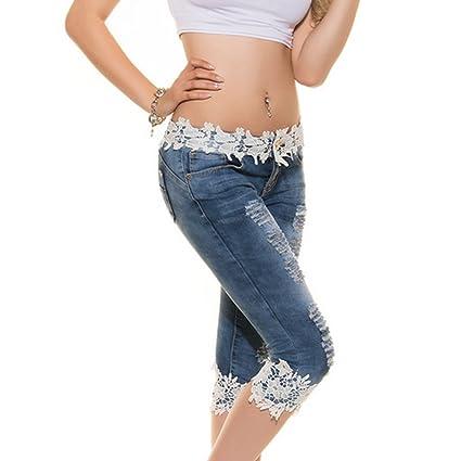 679ad342dcbe Juleya Femme Jeans Jeggings Taille Basse Droite Jeans avec Dentelle 3 4  Stretch Denim Pantalon Sexy Crayon Pantalons Skinny Pantalons Décontracté  Bleu Clair ...