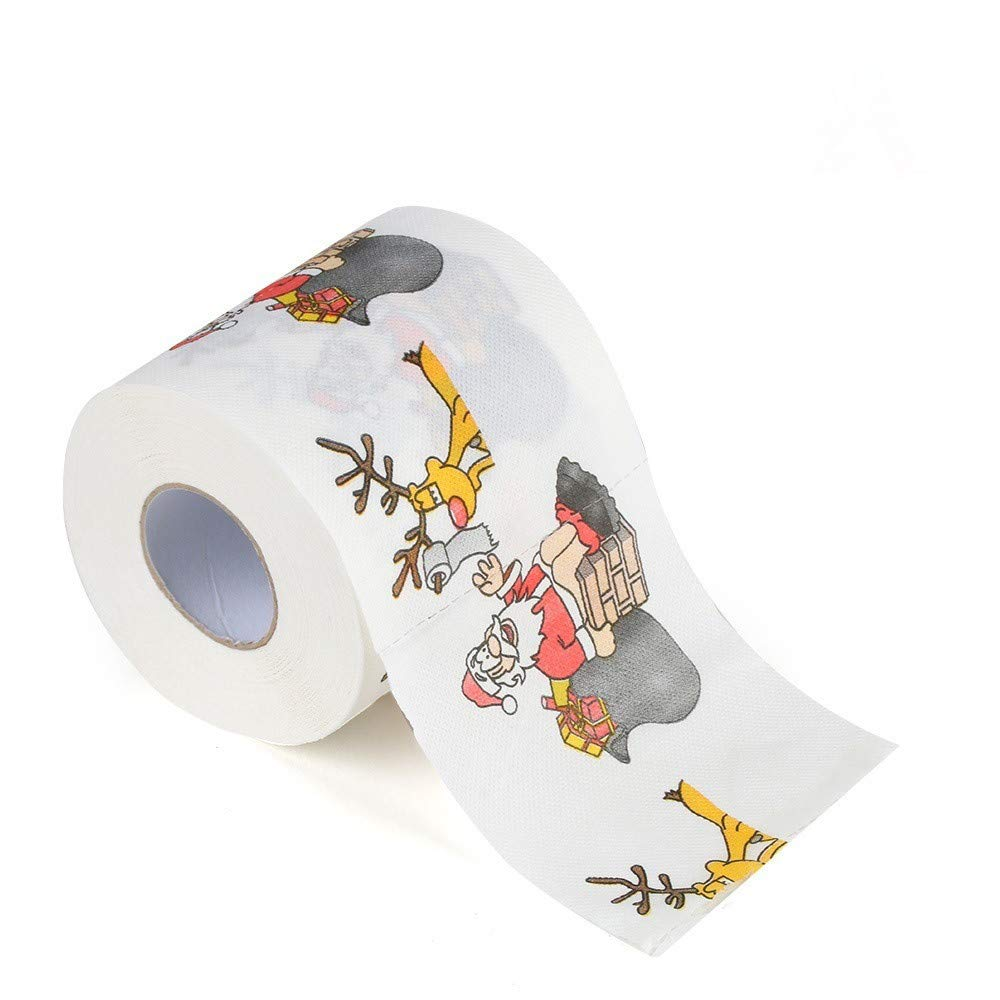 Christmas Toilet Paper Santa Claus Christmas Tree Designer Toilet Paper Fun Birthday Party Novelty Gift Home Bath Roll Paper (3.94 x 3.94 inch) Diadia