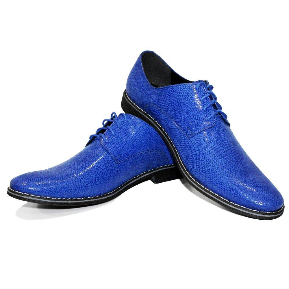 Modello Brusso - Handgemachtes Italienisch Leder Herren - Blau Oxfords Abendschuhe Schnürhalbschuhe - Herren Rindsleder Geprägtes Leder - Schnüren - 269674