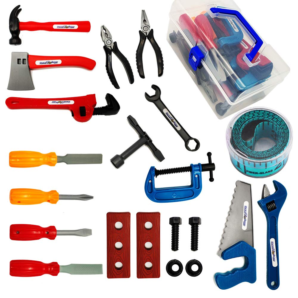 KEJIH 21 Pieces Kids Toy Tool Set and Power Play Tools, Construction Toys Working Tools Educational Pretend Role Play Set with a Handy Storage Box and Portable Sturdy Ideal Gifts Toolkit for Toddlers by KEJIH