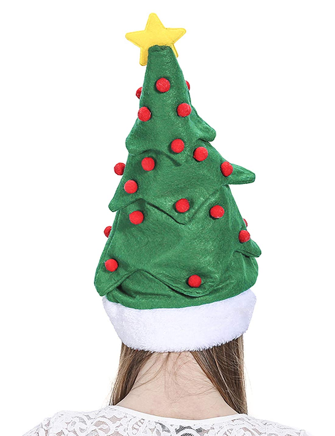 Funny Christmas Hat, 2 Pack Christmas Tree Hat and Plush Santa Claus Hat, Hilarious Santa Hat Red Christmas Cap Costume for Adults Kids Children by DomeXmas