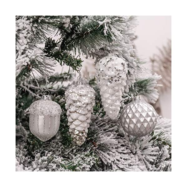 Valery Madelyn Palle di Natale Vetro Addobbi Natalizi Set, 10 Pezzi 10-15cm Silver And White Palline di Natale Decoration for Addobbi Natalizi per Albero 4 spesavip