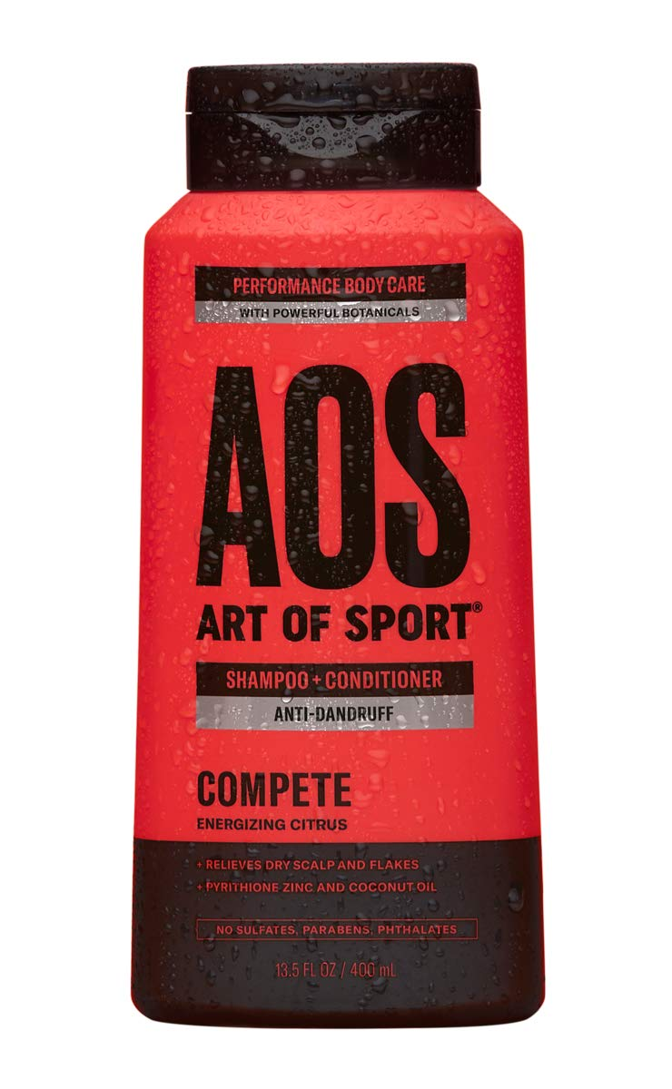 Art of Sport Anti Dandruff Shampoo and Conditioner for Men, Compete Scent, Dry Scalp Shampoo and Dandruff Treatment with Zinc Pyrithione, Coconut Oil and Aloe Vera, Sulfate Free, 13.5 fl oz