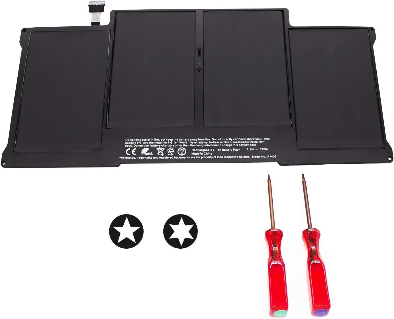"POWERWOO Laptop Battery for MacBook Air 13"" A1466 (Mid 2012, Mid 2013, Early 2014, Early 2015,2017) A1369 (Late 2010, Mid 2011 Version),fits A1496 A1405 A1377- Higher Capacity - [7200mAh/55Wh/7.6V]"