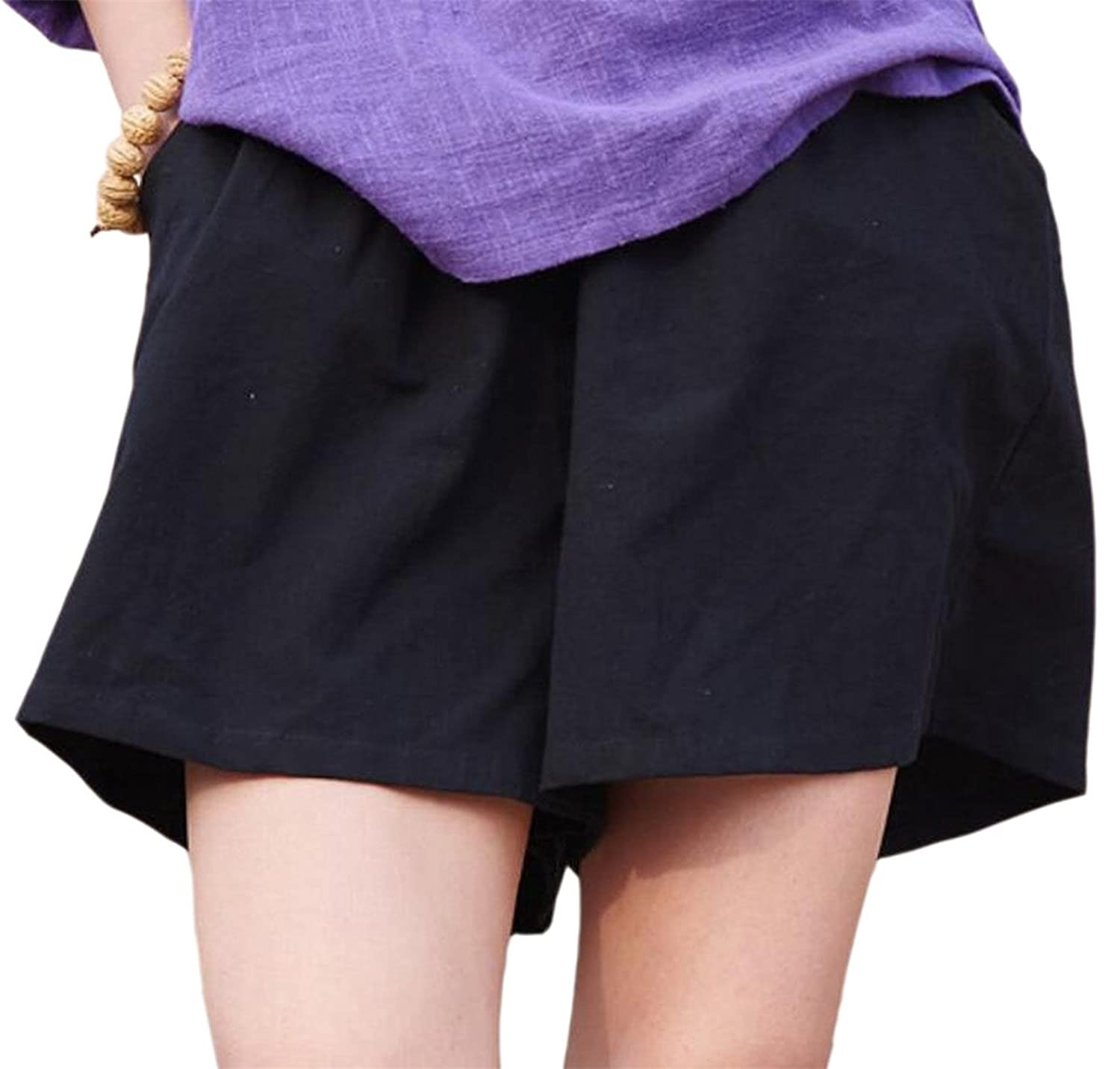 WSPLYSPJY Women Solid Color Loose Fit Cotton Linen Washed with Pockets Shorts