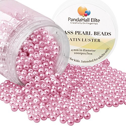 PandaHall Elite About 1000 Pcs 4mm Pink Tiny Satin Luster Glass Pearl Bead Round Loose Spacer Beads for Jewelry Making