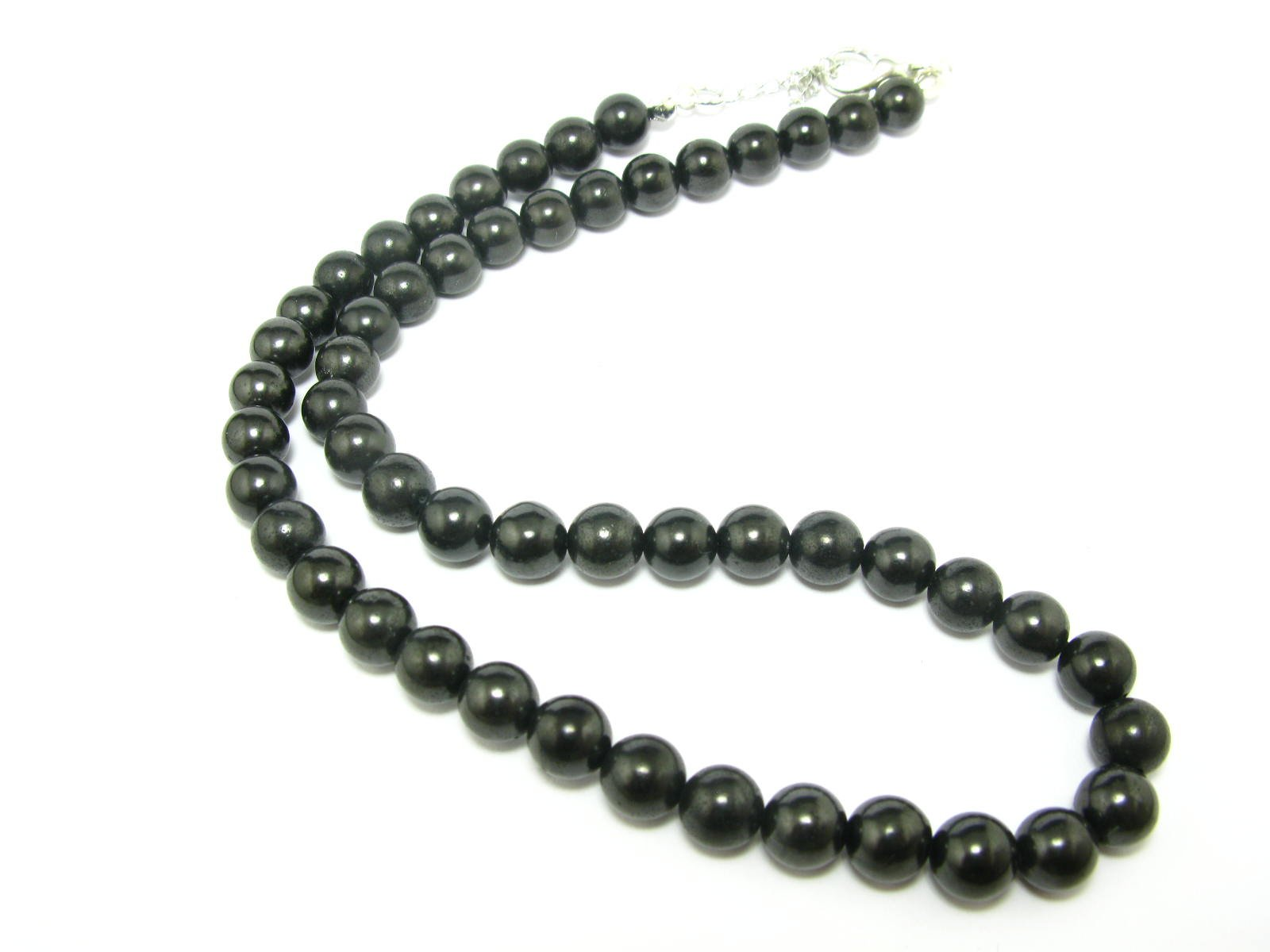 Shungite Necklace Beads From Russia - 8mm Round Beads - 18''