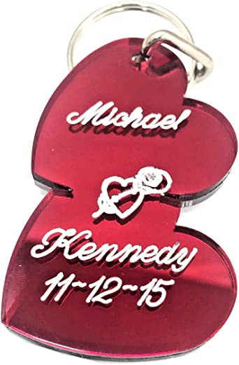 Double Heart Couple Key Chain Heart Keychain Names Engraved Free Personalized