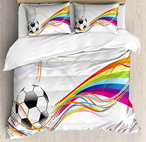 (Funy Decor Soccer Bedding Set,Rainbow Patterned Swirled Lines Abstract Football Pattern Colorful Stripes Design,4 Piece Duvet Cover Set Bedspread for Childrens/Kids/Teens/Adults,Multicolor Full Size)