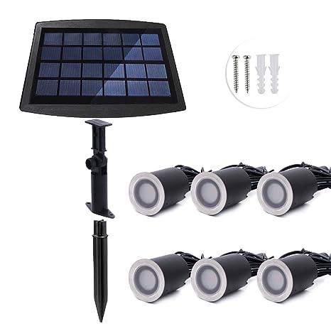 ONLT Luz Foco Solar Empotrable al Suelo – 6 PCS LED IP67 4000K Luz Foco empotrable