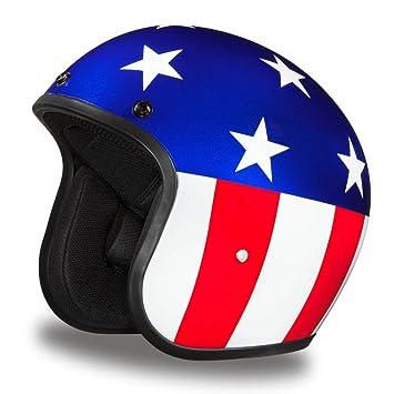 Daytona - Casco del Capitán América con aprobación DOT para motocicleta, con carcasa de 3