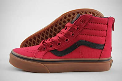 2e9d64fef7 Amazon.com | Vans SK8 Hi Zip Gum Racing Red/Black Kids Skate Shoes ...