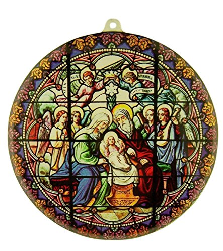 Acrylic Stained Glass Nativity with Guardian Angels Christmas Suncatcher Window Ornament, 3 1/2 Inch