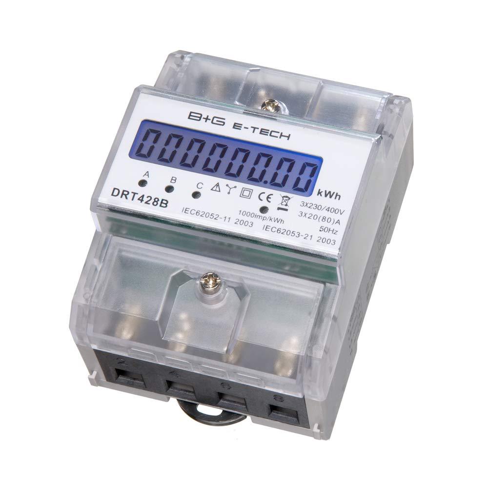 B+G E-Tech DRT428B digitaler Stromzä hler Drehstromzä hler fü r DIN Hutschiene, Energiemessgerä t 400V 20(80) A mit S0 Schnittstelle