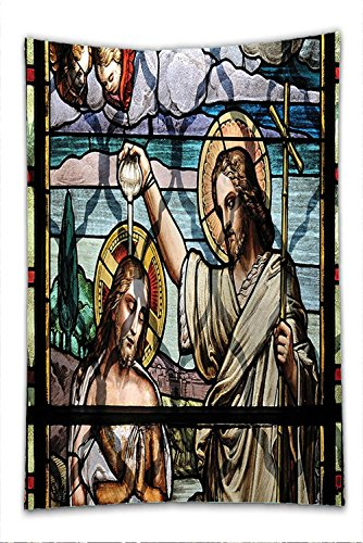 Saint John The Baptist Costume (Nalahome Fleece Throw Blanket Baptism Decorations By Jesus Christ Baptism By Saint John The Baptist Christianity Worship Window Illustrations Decor)
