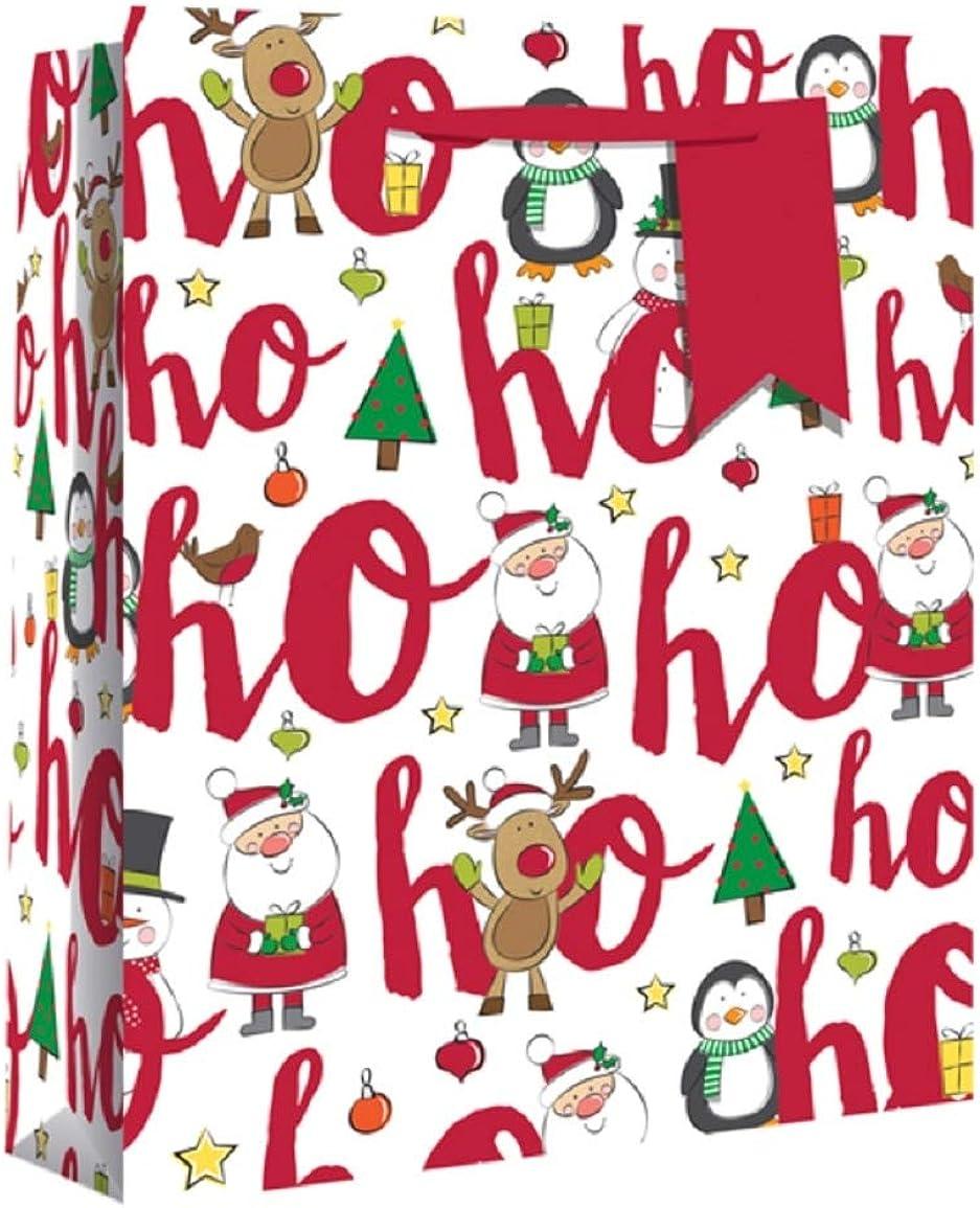 Eurowrap - Bolsa para regalo de Navidad con elástico grueso y diseño Ho Ho Ho (Paquete de 12)