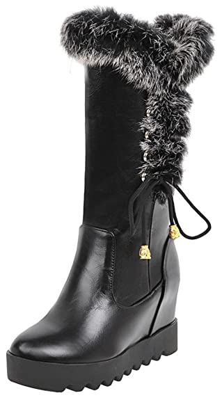 Women's Trendy Fluffy Fur Splicing Round Toe Invisible High Wedge Heel Platform Pull on Under The Knee Riding Boots