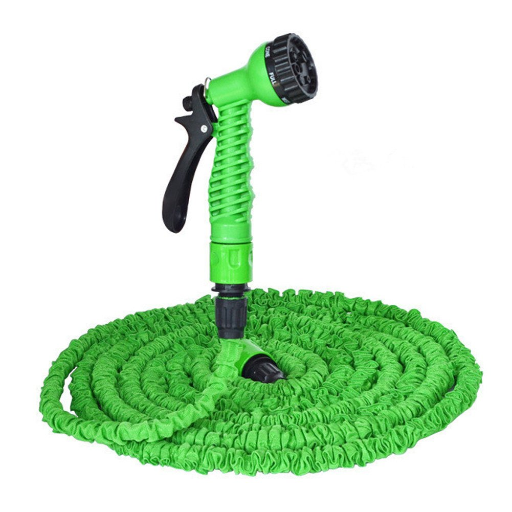 Expandable Garden Water Hose Set, Lightweight Expanding Hose Pipe, 7 Spray Pattern Spray Nozzle, 3 times extension, Latest Improved Extra Strength Fabric Protection, Watering plants, Car wash (150ft)