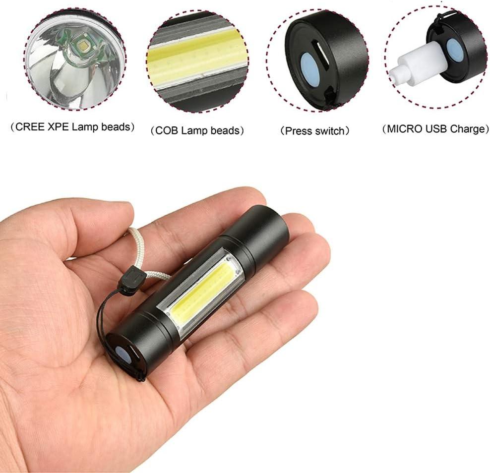 TOOGOO Linterna LED Multifuncional Recargable por USB luz de Trabajo T6 Potente Linterna Lateral Linterna dise/ño de luz de CO