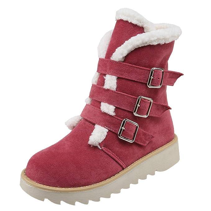 SamMoSon Botas Mujer Invierno Altas Negras Tacon Marrones,Zapatos De Gamuza De Gamuza Redonda con