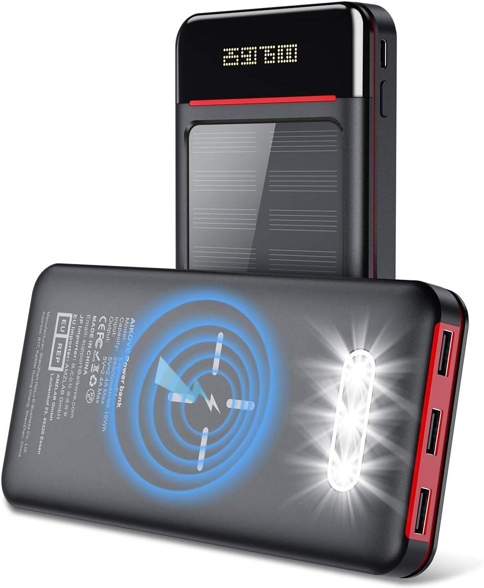 Aikove Batería Externa 26800mAh Cargador Portátil Móvil Inalámbrico, Solar Power Bank con 2 Entrada(USB C&Micro) y 3 Puertos, Linterna LED y LCD, Ultra Capacidad pere Smartphones Tabletas y Más