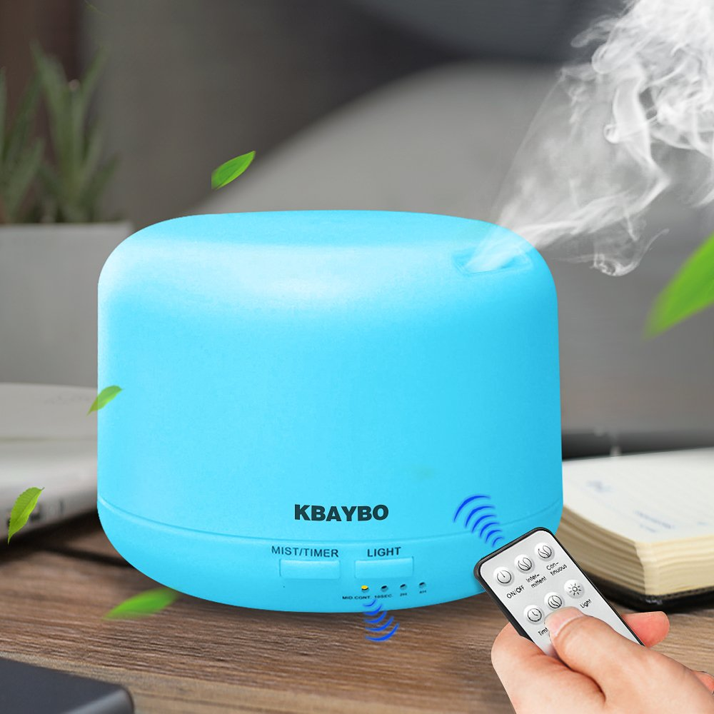 KBAYBO 300ml Cool Mist Humidifier Ultrasonic Aroma Essential Oil Diffuser for Office Home Bedroom Living Room Study Yoga Spa (Remote Control)