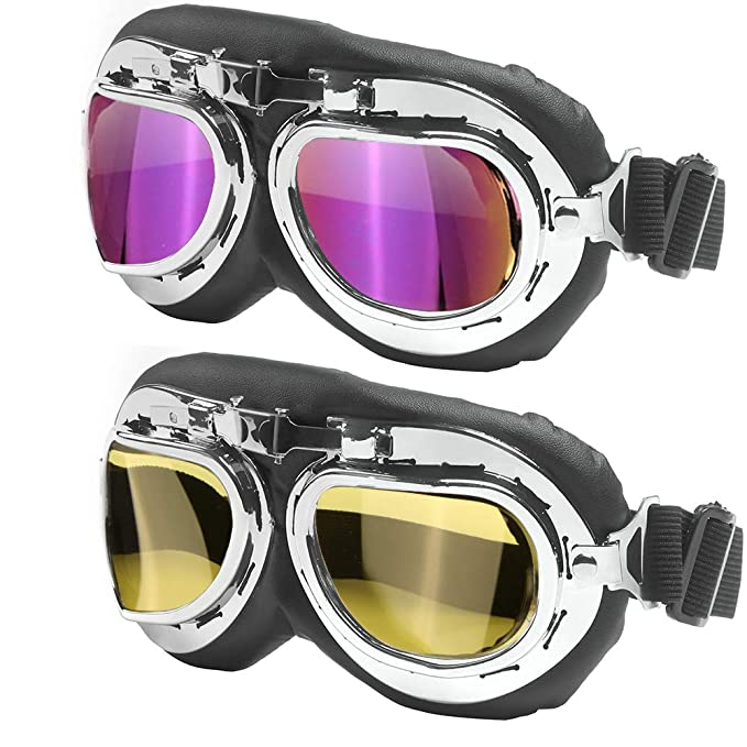 71d125bb57ca Vintage Motorcycle Goggles Aviator Pilot Style Motorcycle Goggle - Glasses  Set of 2 - ATV Dirt
