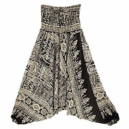 Langmotai Yogahosen meine Damen Bequeme Yoga Strand Baggy Gypsy Frauen Pluderhosen Hose Indian Summer Lose Yoga Hose Eine Größe, Ha 0012801, Eine Größe