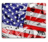 MSD Natural Rubber Mousepad IMAGE ID: 37879324 USA Flag on cannabis background policy Legalization of marijuana