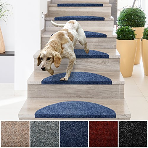 "casa pura Stair Treads | Non-Slip Indoor Stair Protectors | Set of 15 Modern Step Mats for Hard Floor Staircase | Blue - 10"" x 26"""