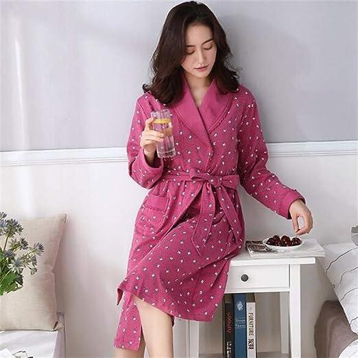 Tina Batas para Mujer algodón otoño Invierno Bata Batas de baño Grandes Damas de Honor túnica Femme, XXL, Rojo: Amazon.es: Hogar