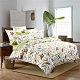 Brandream Pastoral Style 3 Piece Floral Print Design Duvet Cover Set King Size,Classy and Elegant Bedding with Button Closure,Green