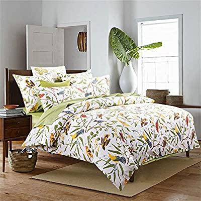 "Brandream Pastoral Style 3 Piece Floral Print Design Duvet Cover Set King Size,Classy and Elegant Bedding with Button Closure,Green - King Size: 1 duvet cover 106""x92"",2 Pillowcases 20""x36"" Material: Luxurious 100% Egyptian cotton 800 thread count with sateen wave bed linen,lustrous,lightweight and silky soft to touch. IMPORTANT NOTE: This bedding set includes a duvet cover for quilt/duvet/comforter but WITHOUT any quilt/duvet/comforter/blanket inside,just COVER. - comforter-sets, bedroom-sheets-comforters, bedroom - 61jJPpVSsEL. SS400  -"
