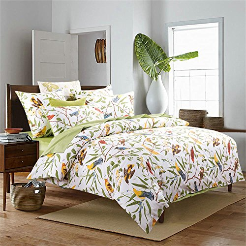 Brandream Beautiful Garden Luxury 3 Piece Duvet Cover Set Island Tree Branch and Birds Multicolored Floral Pattern 100-percent Brushed Cotton Twill (Full,Green) ()