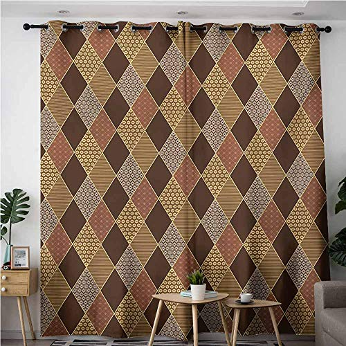 - VIVIDX Simple Curtains,Earth Tones Lozenge Pattern in Patchwork Style Striped and Floral Rhombus Brown Shades,Blackout Draperies for Bedroom,W84x108L,Brown Yellow