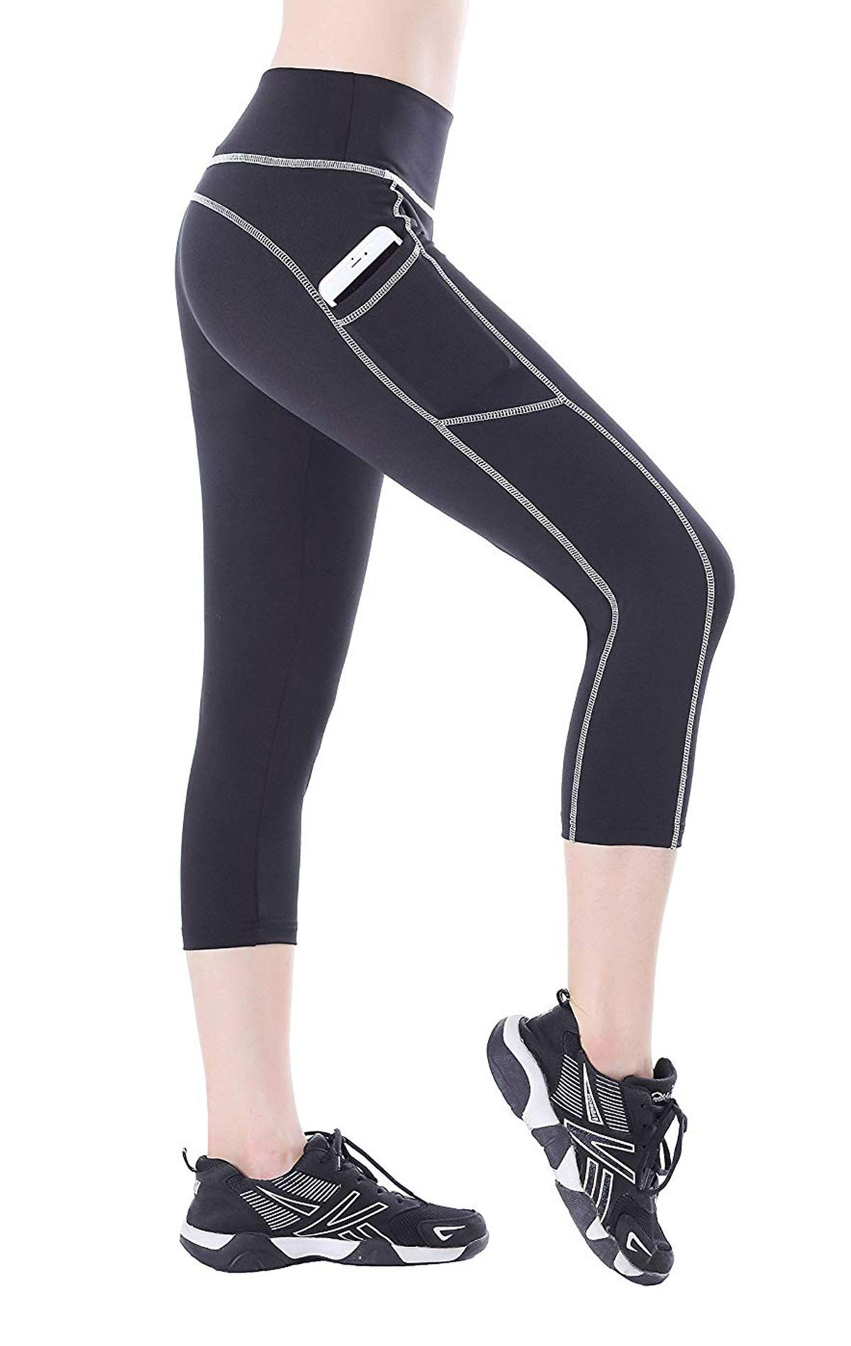 Amazon price history for BLINKIN Yoga,Gym and Active Sports Fitness Black Capri Tights with Side Pockets for Women|Girls(Polyester Fabric)(015)