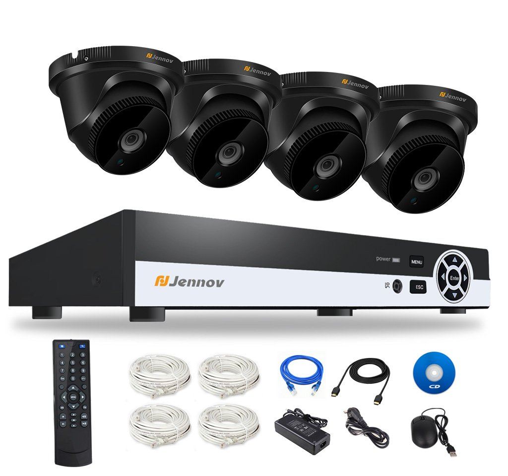 Jennov POE Home Security Camera System 4 Channel NVR with 4 Power Over Ethernet Motion Detection Remote View Waterproof Night Vision Infrared Cameras Surveillance Kits (No Hard Drive)