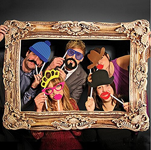 SUNSHINEPROP 24PCS Wedding Birthday Party Masks Frame Photo Booth Props Mustache On A Stick (Photo Booth Card Frame)