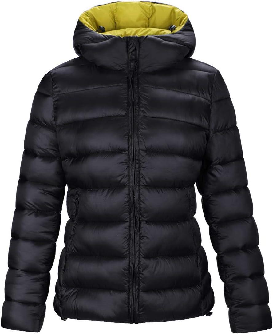 DISHANG Mens Long Hooded Lightweight Puffer Jacket Water-Repellent Windproof Down Jacket