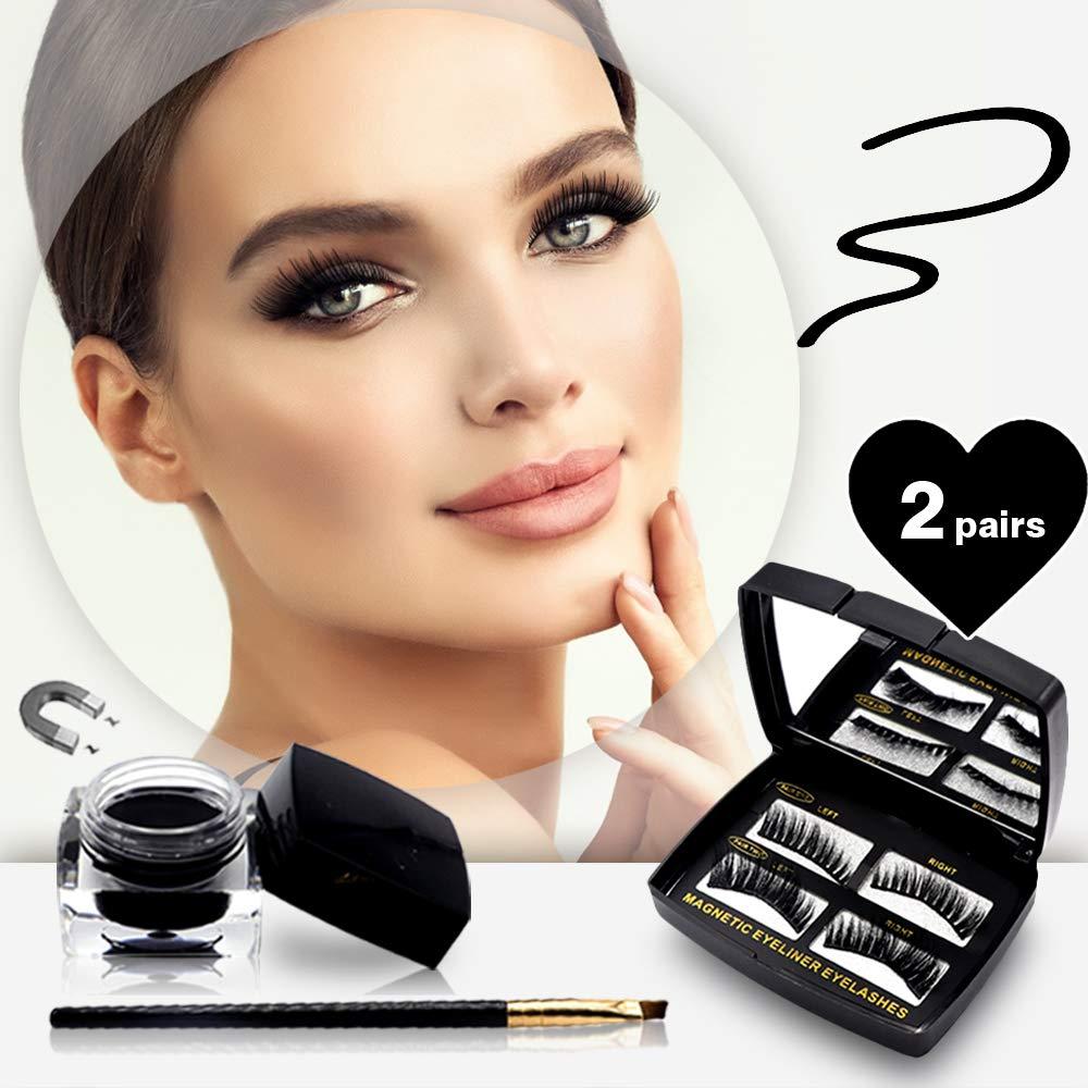 Magnetic Eyeliner and Lashes Kit Eye Makeup Bag - 2 Pairs of Mink Magnetic Lashes and Eyeliner Gel with Brush - Reusable False Eyelashes Individual Natural Look - Long Magnet Eyelashes Extensions