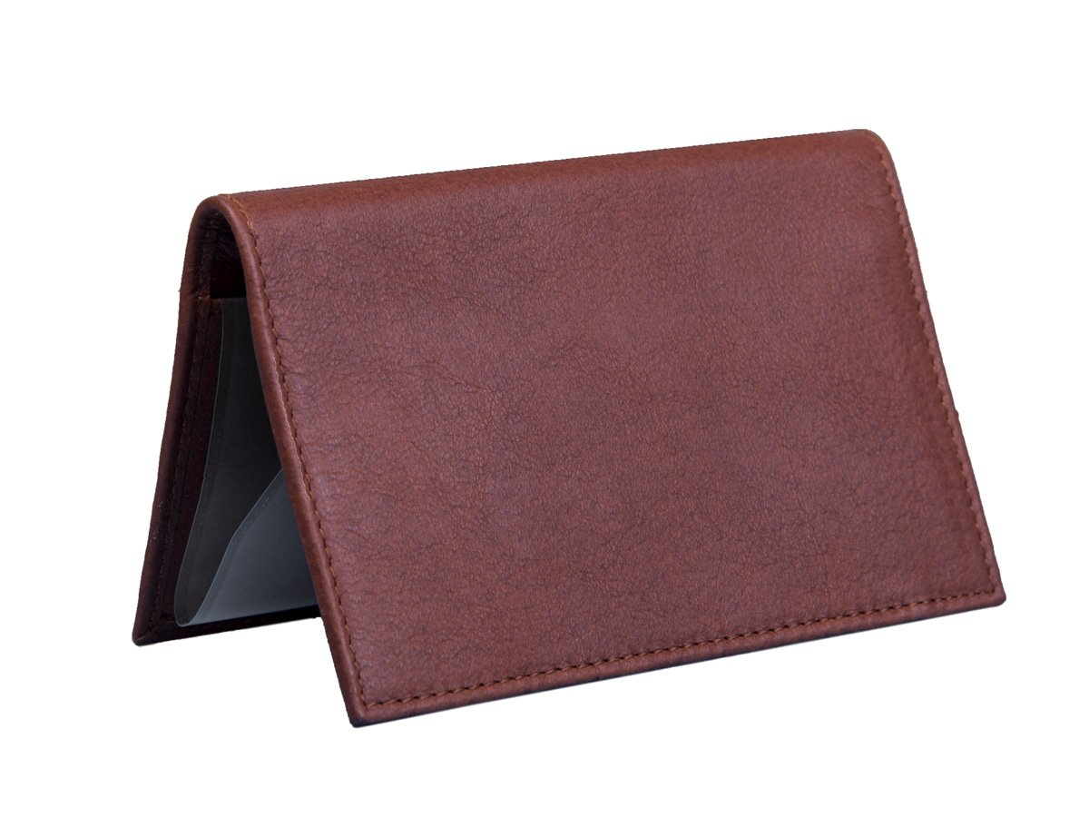 Dwellbee Premium Leather Checkbook and Register Cover with Pen Holder (Buffalo Leather, Brown), One Size