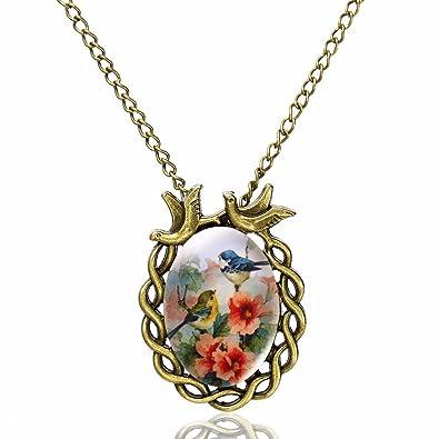 Jiayiqi Women Partysu Blue Bird Glass Gemstone Necklace Red Leather Rope Necklace ENzMNgGAbz