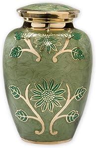 Beautiful Life Urns Green Garden Brass Cremation Urn, Adult Size