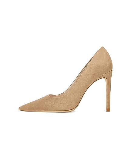 769d777e91d Zara Women s Leather high-Heel Court Shoes 6932 301 (8 UK) Brown ...