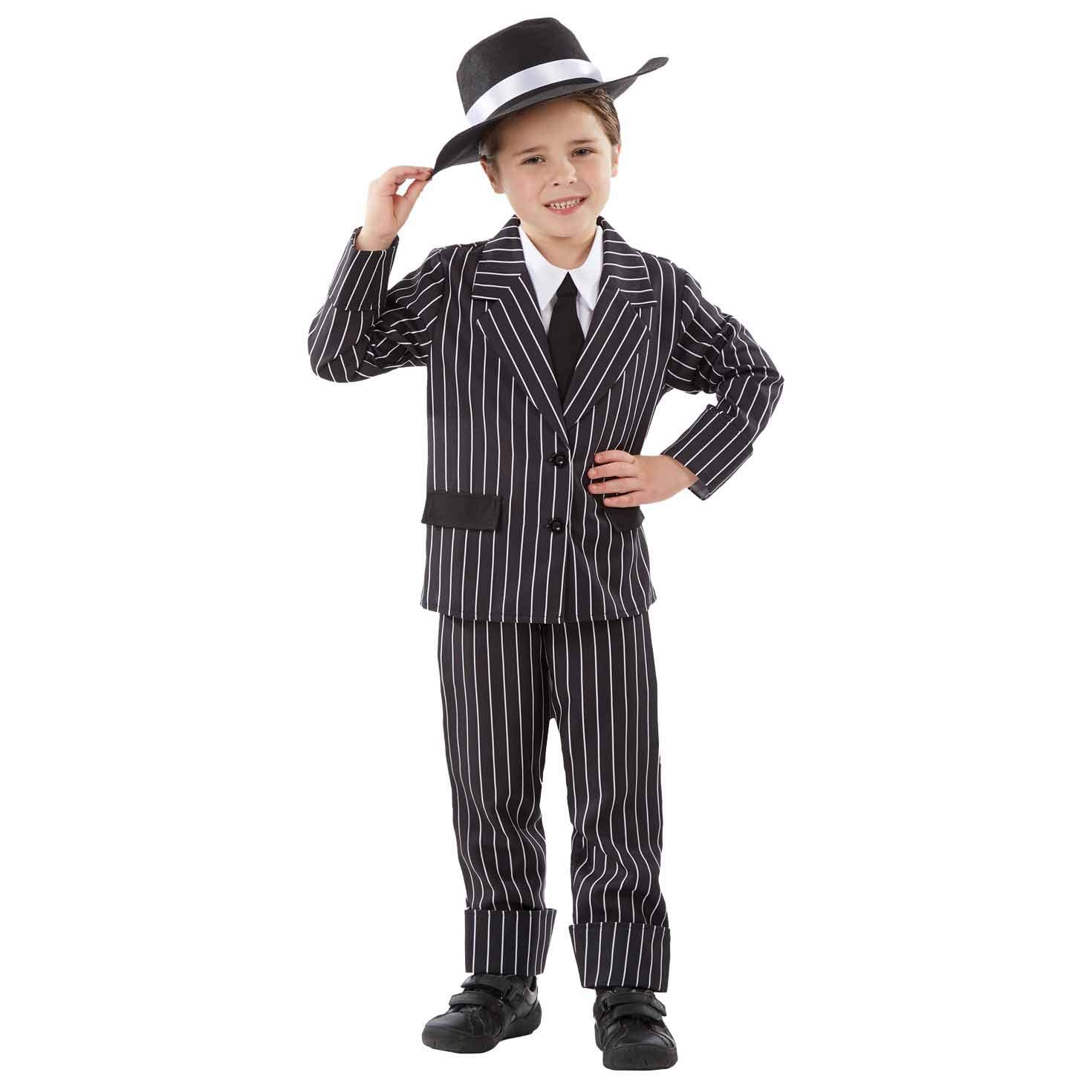 fun shack Kids Gangster Costumes Boys Mafia Black Pinstripe Suit 1920s Mobster Outfits