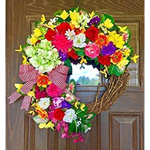 Large Country Front Door Hydrangea Spring Summer Flowers Grapevine Wreath