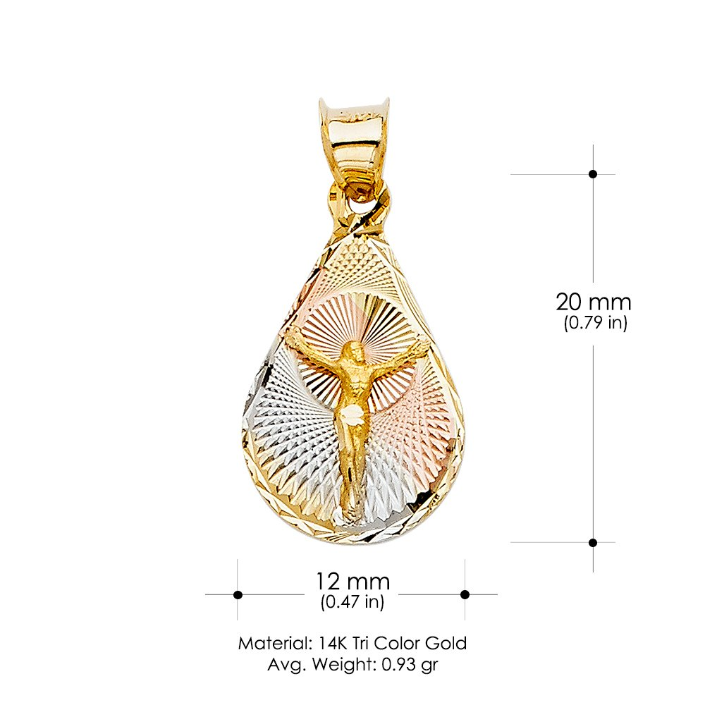 14K Tri Color Gold Diamond Cut Jesus Stamp Religious Charm Pendant For Necklace or Chain