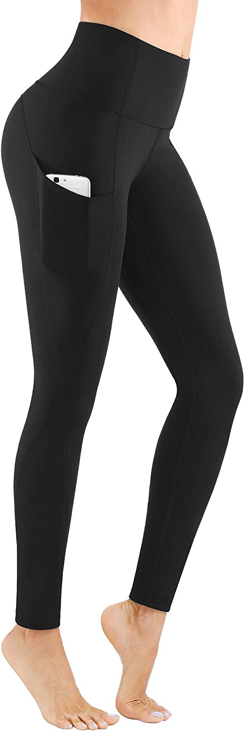 PHISOCKAT High Waist Yoga Pants with Pockets, Tummy Control Leggings for Women, Workout 4 Way Stretch Yoga Capris Leggings: Clothing
